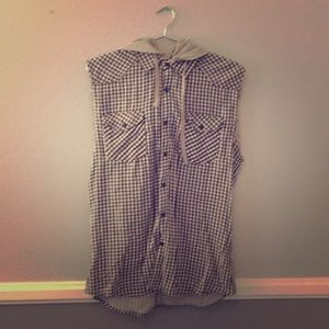 Forever21 Sleeveless Flannel with Detachable Hood